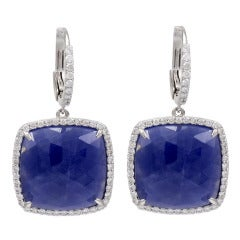 Cushion Sapphire Diamond Hanging Earrings