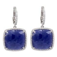 Cushion Sapphire Diamond Hanging Earrings