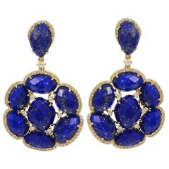 Lapis and Diamond Earrings Set in Yellow Gold