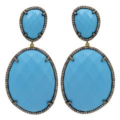 Turquoise Diamond Hanging Earrings
