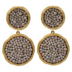 Double Disc Chocolate Diamond Earrings