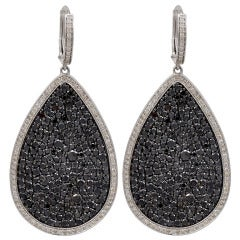 Black Diamond Pear Shaped Earrings in Micro Pave