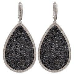 Black Diamond Pear Shaped Earrings in Micro Pave