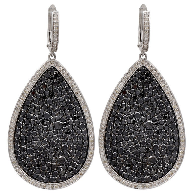 Black Diamond Pear Shaped Earrings in Micro Pave For Sale