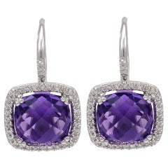 Amethyst and Micro Pave Earrings