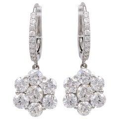 Diamond Flower Earrings on a Diamond Wire