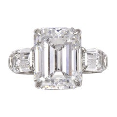 4.78 Carat Emerald Cut Diamond Ring