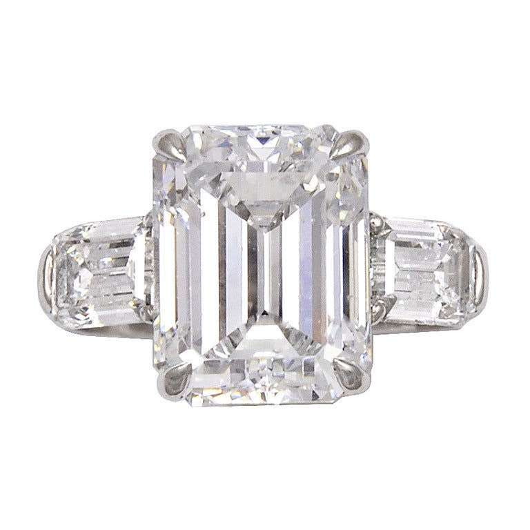 4 78 carat emerald cut ring at 1stdibs