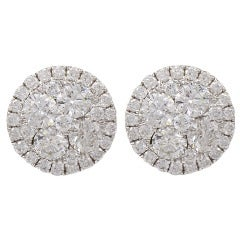 Diamond Button earrings with Micro Pave Surrounding Diamonds