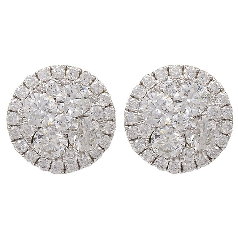 Diamond Button earrings with Micro Pave Surrounding Diamonds For Sale