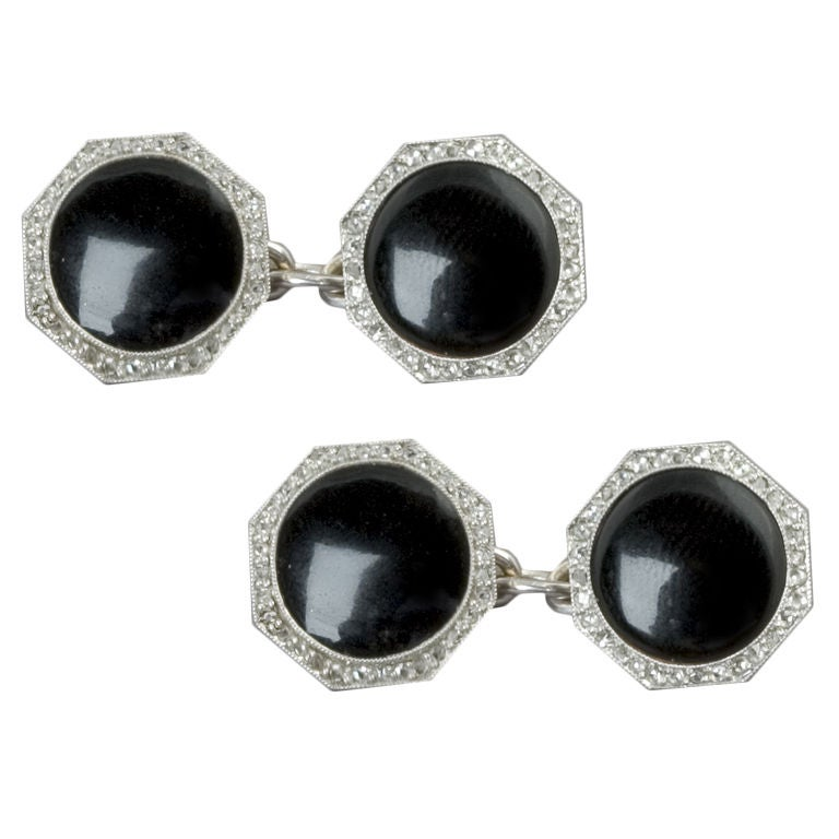 1920s Art Deco Onyx Diamond Platinum Double Sided Cuff Links