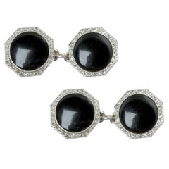 1920s Art Deco Onyx Diamond Platinum Double Sided Cuff Links