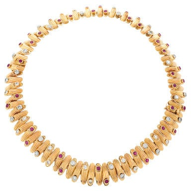 Van Cleef & Arpels 1950's Diamond, Ruby and Gold Convertible Necklace