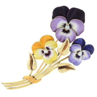 H.G.Hedges Art Nouveau Natural Seed Pearl, Enamel and Gold Violets Brooch