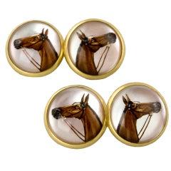 Mid-Century Gold Reverse-Crystal Horse Cufflinks