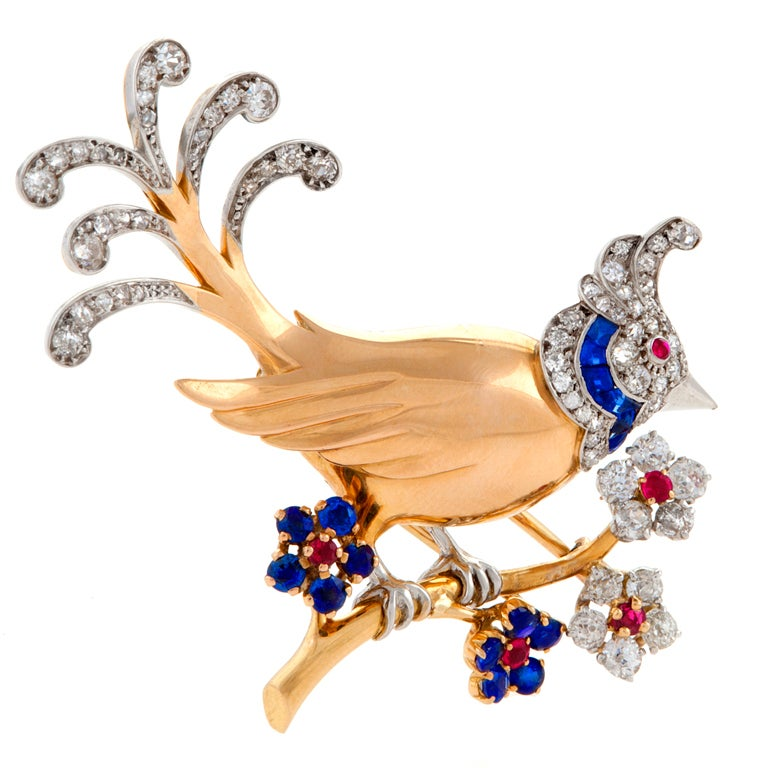Mauboussin Paris 1950's Diamond Ruby Sapphire and Gold Bird Brooch For Sale