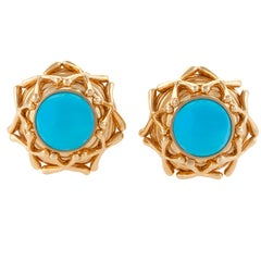 Tiffany & Co. Schlumberger Turquoise Gold Earrings