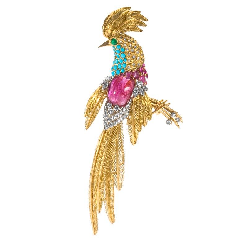 Jean Charles Mid 20th Century Multi-Gem Gold Platinum Bird Brooch 1
