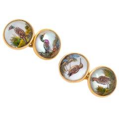 Essex Crystal Game Bird Double Sided Gold Cufflinks