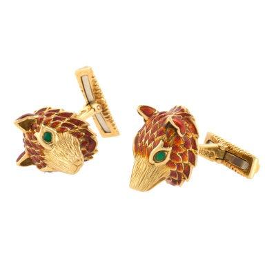 David Webb Gold and Enamel Bear Head Cufflinks