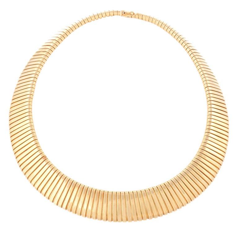 Italian Retro Gold Tubogas Necklace 1
