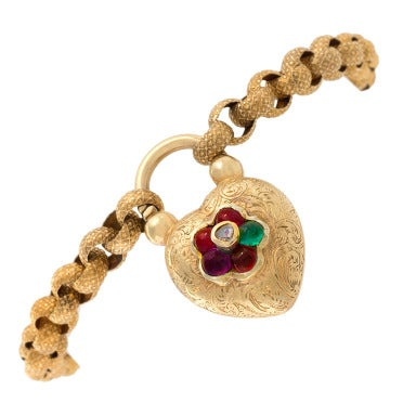 "Antique Victorian English Gold and Jeweled ""Regard"" Locket Bracelet"