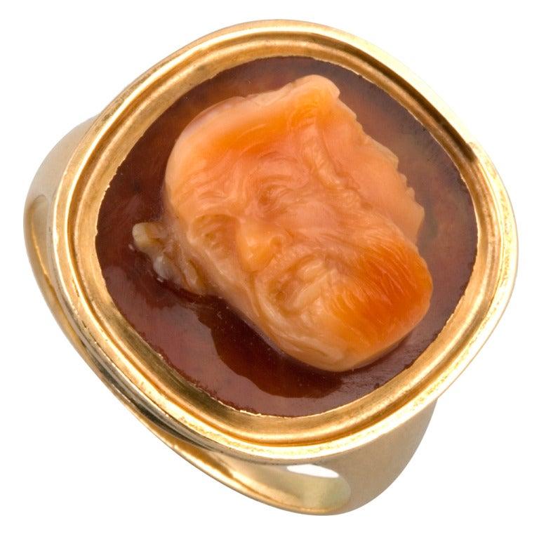 Georgian Carnelian and Gold Cameo Ring