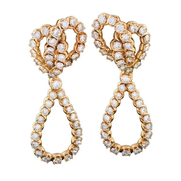 Verger Diamond and Gold Ear Pendants 1