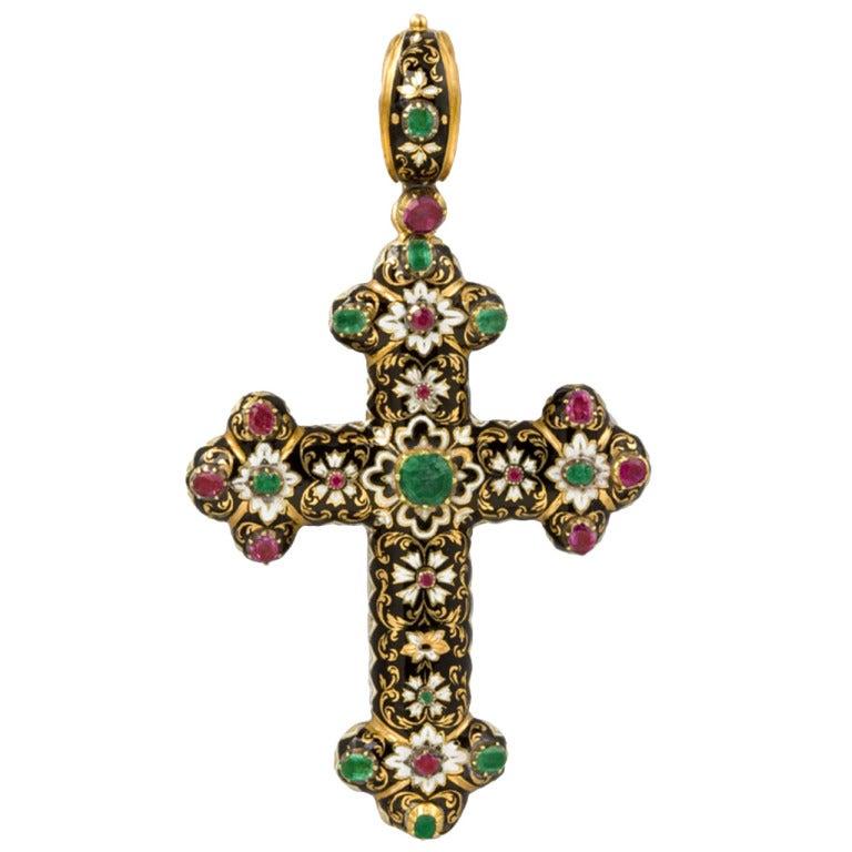 antique enamel swiss gold cross pendant at 1stdibs