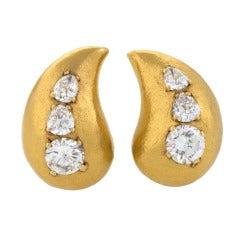 Suzanne Belperron Diamond Gold Ear Clips