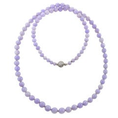 Natural Lavender Jade and Diamond Necklace