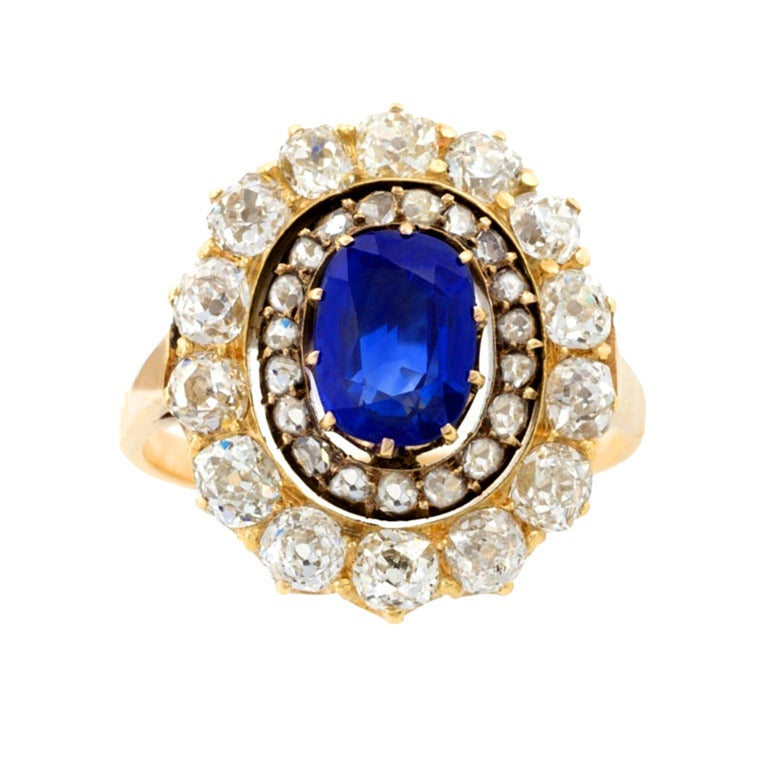 antique sapphire silver gold cluster ring