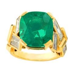 Suzanne Belperron Emerald Diamond Gold Ring