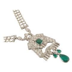 Cartier and Mauboussin Art Deco Pearl Emerald Diamond Sautoir