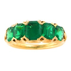 Antique English Five-Stone Emerald Gold Ring