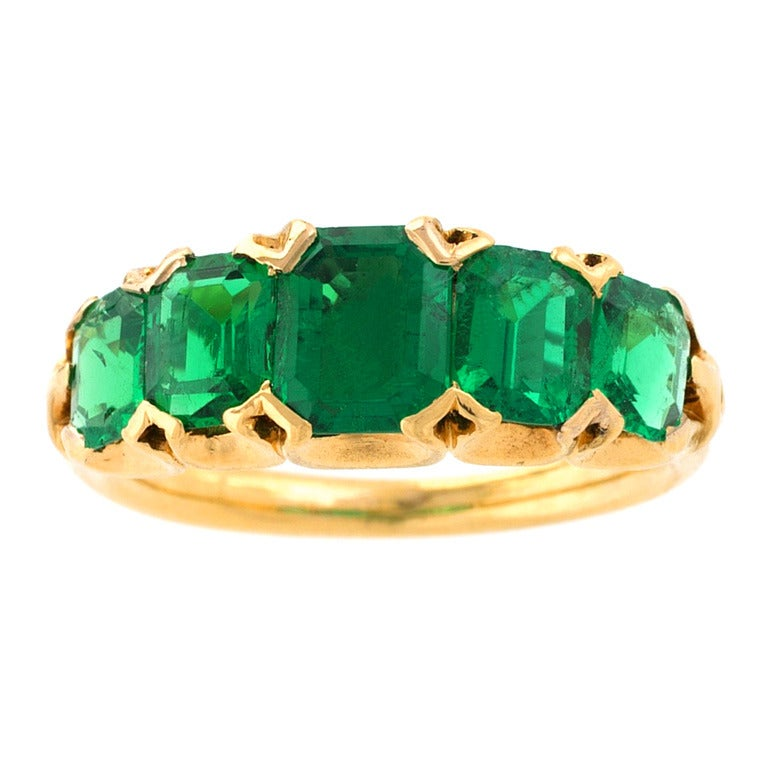 antique five emerald gold ring for sale at