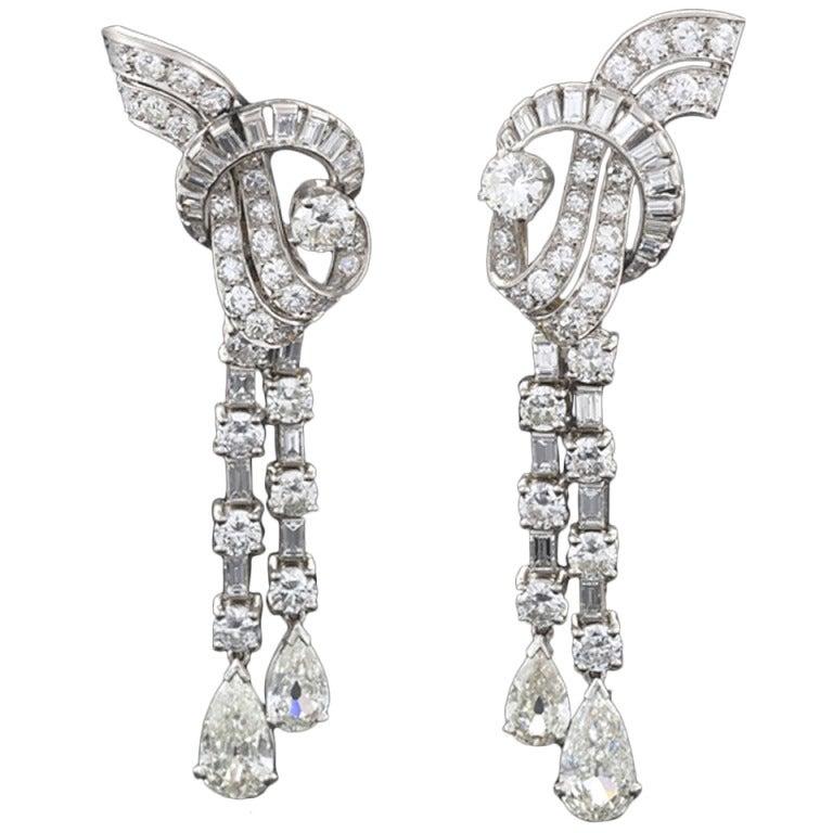 French Art Deco Waterfall Diamond Platinum Earrings 1