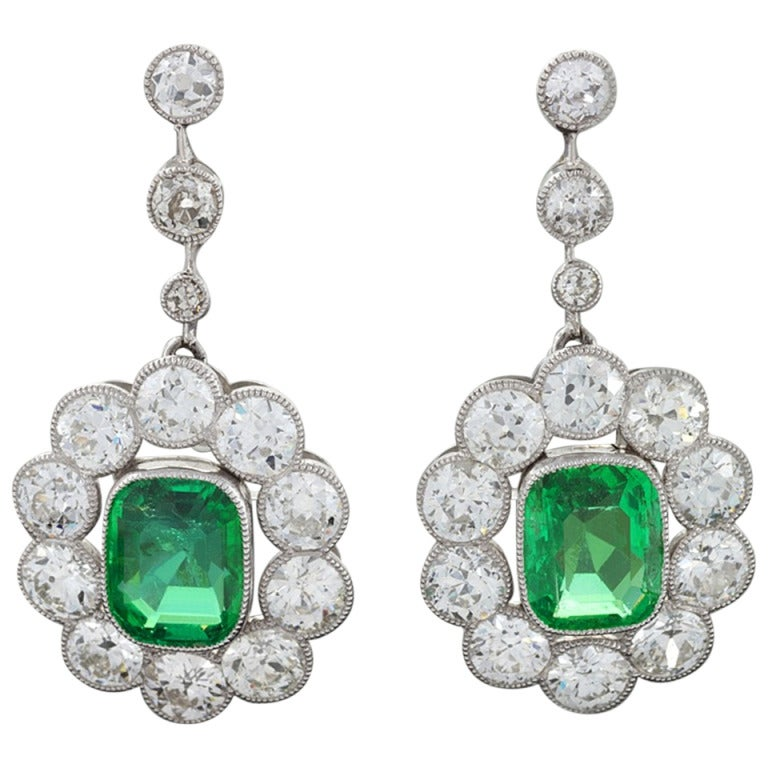 Edwardian Emerald Diamond Platinum Cluster Ear Pendants 1