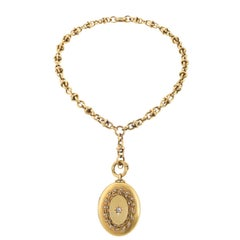 Antique Pearl Diamond Gold Locket Necklace