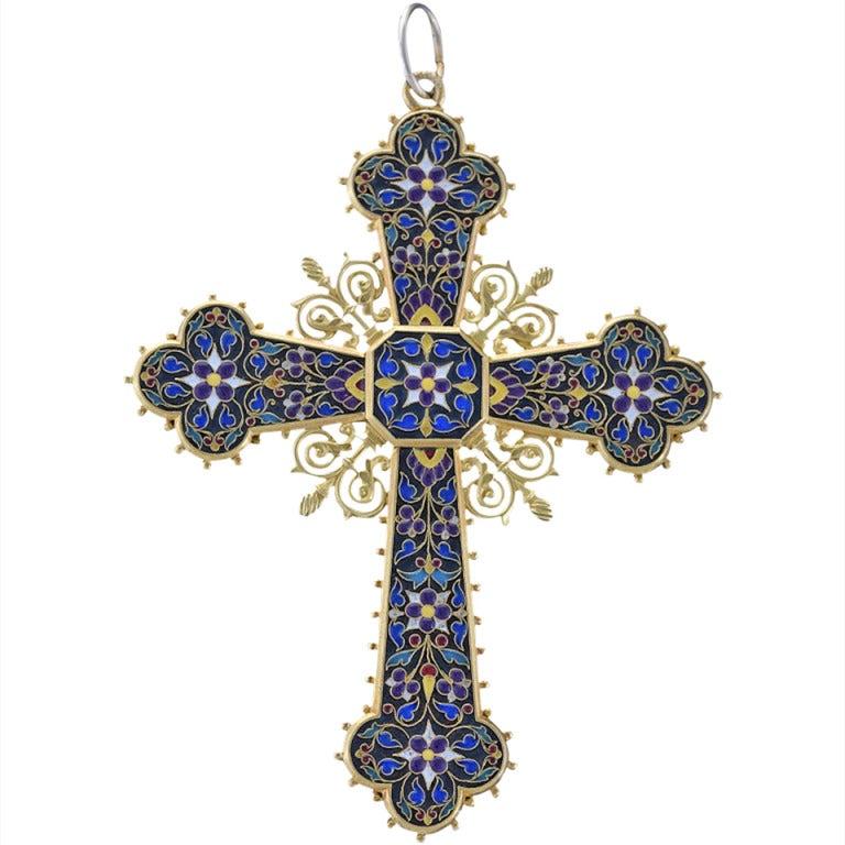Antique Enamel Lapis Lazuli Gold Cross Pendant