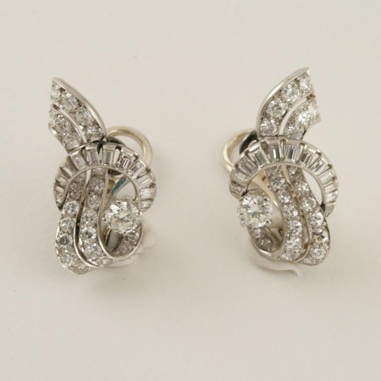 French Art Deco Waterfall Diamond Platinum Earrings 2