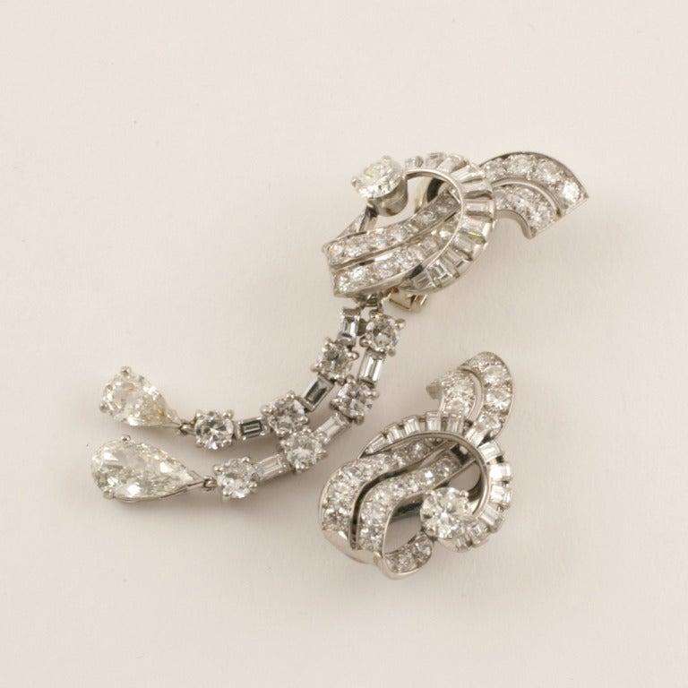 French Art Deco Waterfall Diamond Platinum Earrings 3