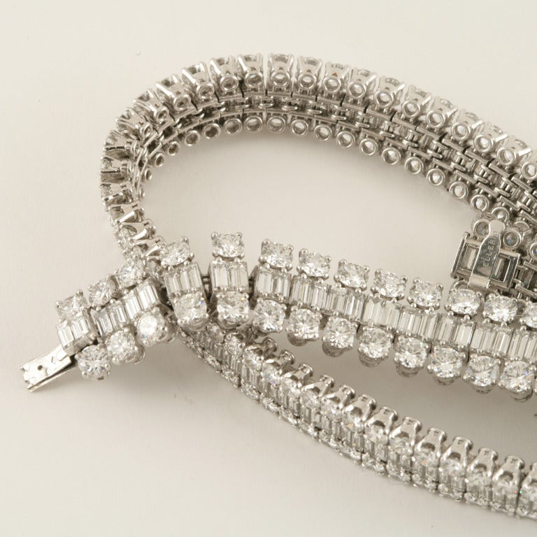Mellerio Dits Meller Paris 1950s Diamond Platinum Necklace and Tiara For Sale 3