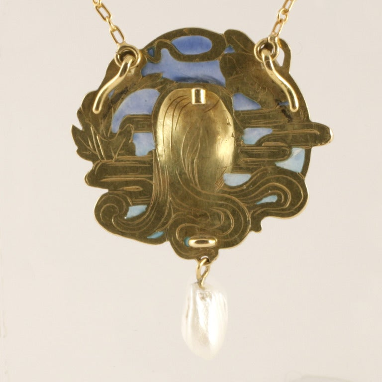 Women's Louis Zorra French Art Nouveau Plique à Jour Enamel Freshwater Pearl Gold Pen For Sale