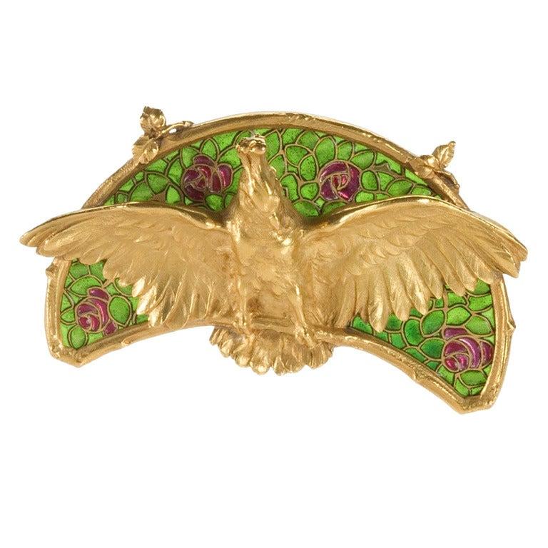 Art Nouveau Plique-à-jour Enamel and Gold 'Cockatoo' Brooch