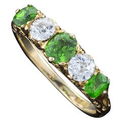 Antique Demantoid Garnet Diamond Ring
