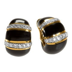 David Webb 1960s Diamond Enamel Gold and Platinum Earrings