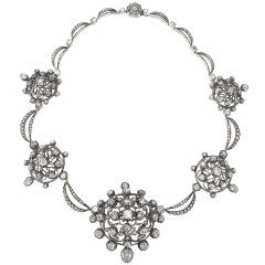Antique Diamond Silver-Topped Gold Necklace