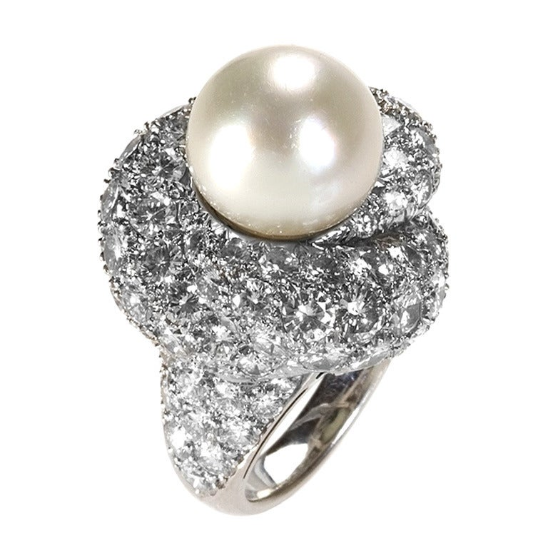 1960's South Sea Pearl Diamond and Platinum Ring
