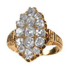 Victorian Diamond Gold Cluster Ring